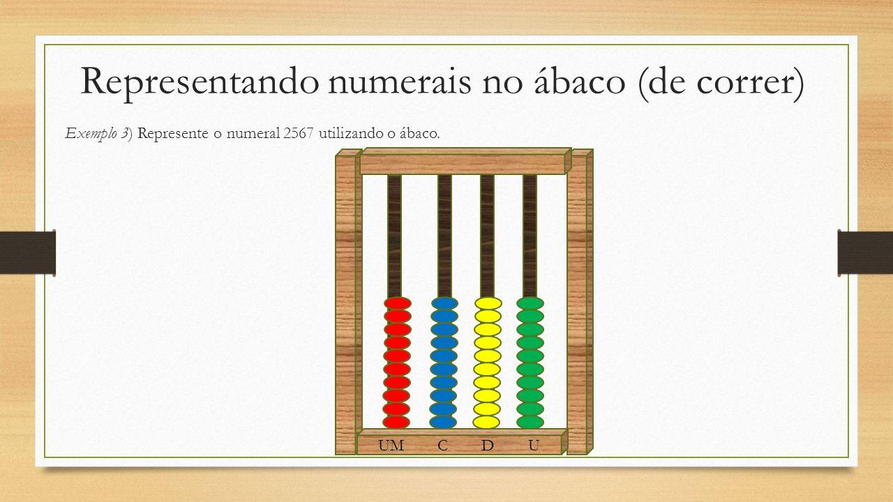 Representando numerais no ábaco (de correr) Exemplo 3) Represente o numeral 2567 utilizando o ábaco. UM C D U