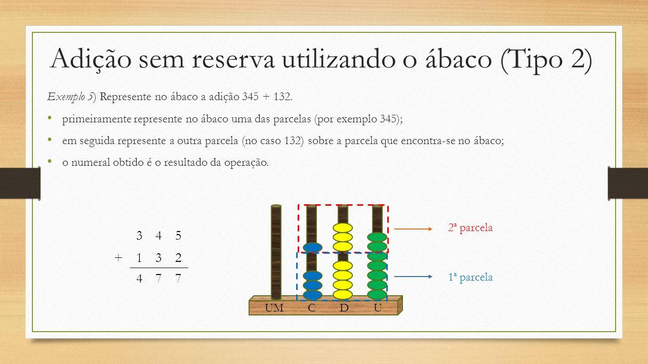 Adição sem reserva utilizando o ábaco (Tipo 2) Exemplo 5) Represente no ábaco a adição 345 + 132. primeiramente represente no ábaco uma das parcelas (