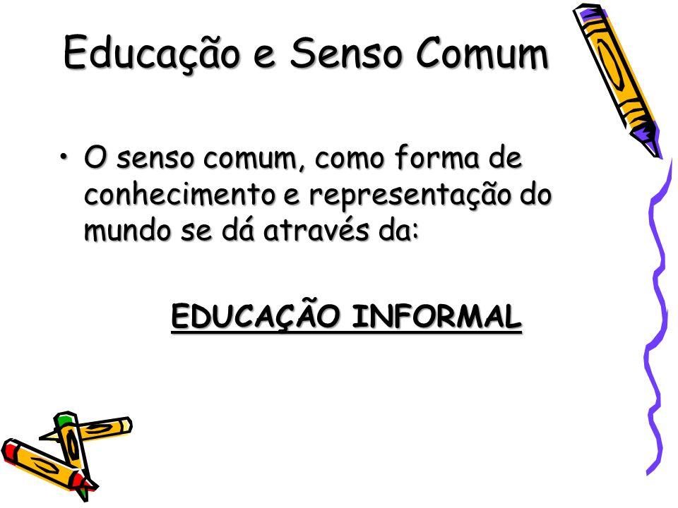 Educação e Senso Comum O senso comum, como forma de conhecimento e representação do mundo se dá através da:O senso comum, como forma de conhecimento e
