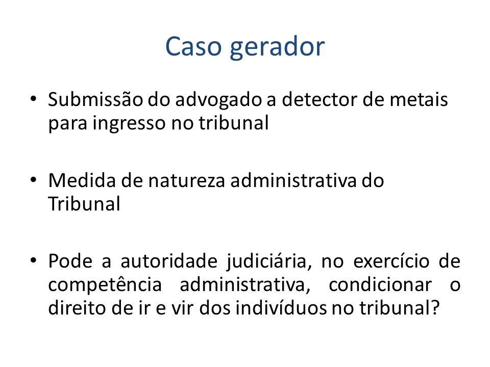 Caso gerador Submissão do advogado a detector de metais para ingresso no tribunal Medida de natureza administrativa do Tribunal Pode a autoridade judi