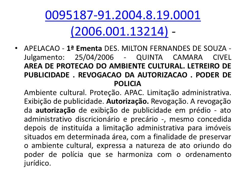 0095187-91.2004.8.19.0001 (2006.001.13214)0095187-91.2004.8.19.0001 (2006.001.13214) - APELACAO - 1ª Ementa DES. MILTON FERNANDES DE SOUZA - Julgament