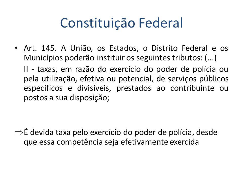 Constituição Federal Art. 145. A União, os Estados, o Distrito Federal e os Municípios poderão instituir os seguintes tributos: (...) II - taxas, em r