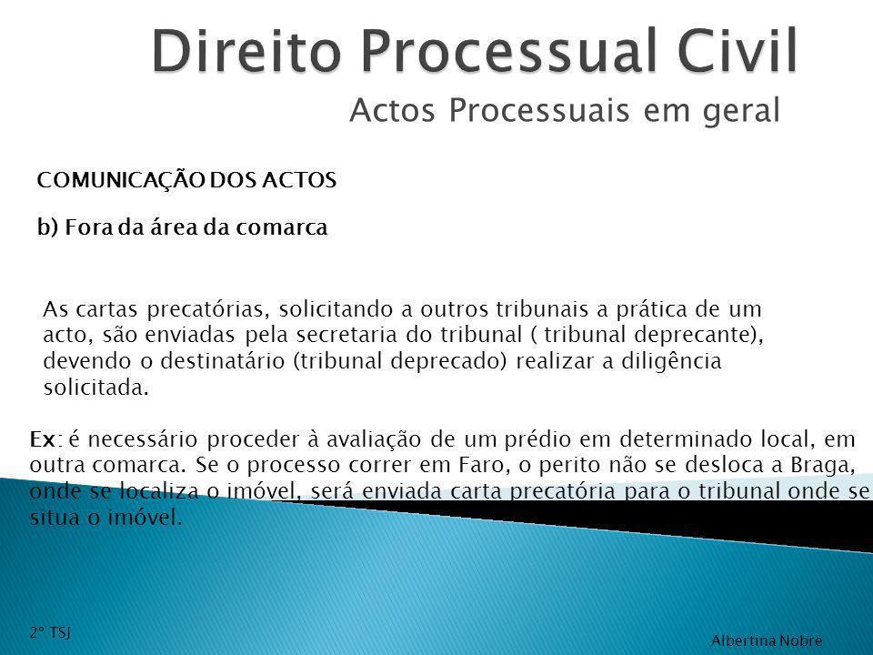 Actos Processuais em geral COMUNICAÇÃO DOS ACTOS As cartas precatórias, solicitando a outros tribunais a prática de um acto, são enviadas pela secreta