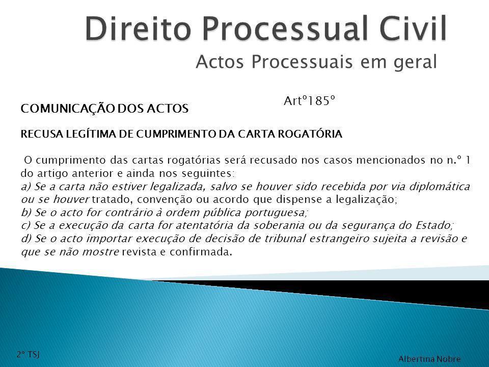 Actos Processuais em geral COMUNICAÇÃO DOS ACTOS RECUSA LEGÍTIMA DE CUMPRIMENTO DA CARTA ROGATÓRIA O cumprimento das cartas rogatórias será recusado n