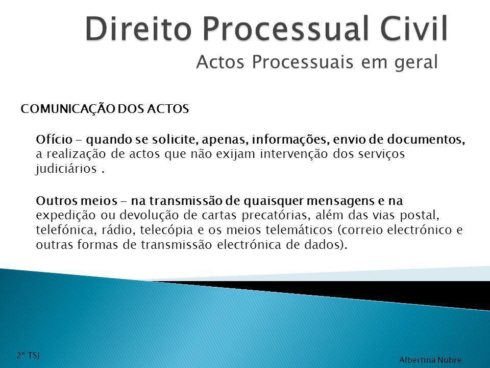 Actos Processuais em geral COMUNICAÇÃO DOS ACTOS Outros meios - na transmissão de quaisquer mensagens e na expedição ou devolução de cartas precatória