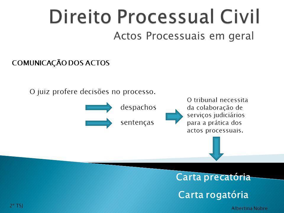 Actos Processuais em geral COMUNICAÇÃO DOS ACTOS O juiz profere decisões no processo. despachos sentenças O tribunal necessita da colaboração de servi
