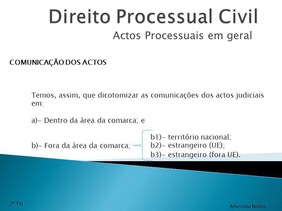 Actos Processuais em geral COMUNICAÇÃO DOS ACTOS Temos, assim, que dicotomizar as comunicações dos actos judiciais em: a)- Dentro da área da comarca;
