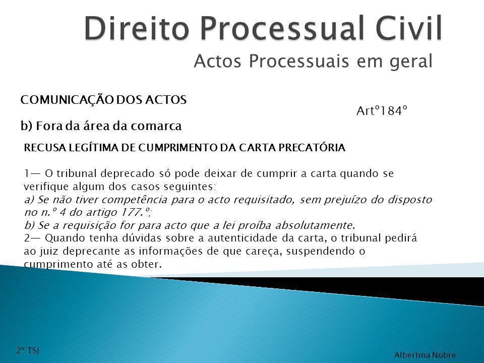 Actos Processuais em geral COMUNICAÇÃO DOS ACTOS b) Fora da área da comarca RECUSA LEGÍTIMA DE CUMPRIMENTO DA CARTA PRECATÓRIA 1 O tribunal deprecado