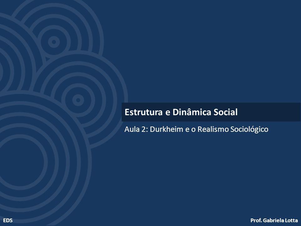 Prof. Gabriela LottaEDS Aula 2: Durkheim e o Realismo Sociológico Estrutura e Dinâmica Social