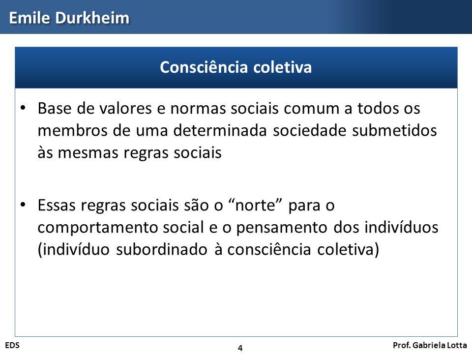 Prof. Gabriela LottaEDS Emile Durkheim 4 Base de valores e normas sociais comum a todos os membros de uma determinada sociedade submetidos às mesmas r
