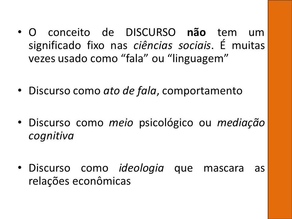 O conceito de DISCURSO não tem um significado fixo nas ciências sociais. É muitas vezes usado como fala ou linguagem Discurso como ato de fala, compor