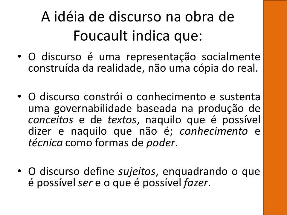A idéia de discurso na obra de Foucault indica que: O discurso é uma representação socialmente construída da realidade, não uma cópia do real. O discu