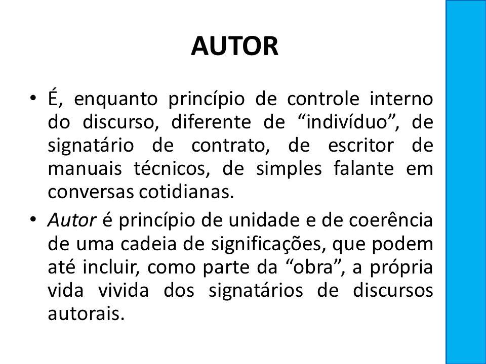 AUTOR É, enquanto princípio de controle interno do discurso, diferente de indivíduo, de signatário de contrato, de escritor de manuais técnicos, de si