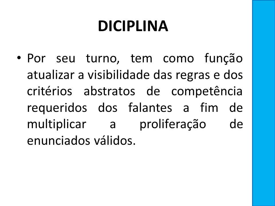 DICIPLINA Por seu turno, tem como função atualizar a visibilidade das regras e dos critérios abstratos de competência requeridos dos falantes a fim de