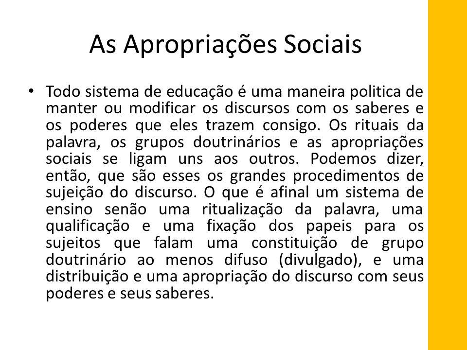 As Apropriações Sociais Todo sistema de educação é uma maneira politica de manter ou modificar os discursos com os saberes e os poderes que eles traze