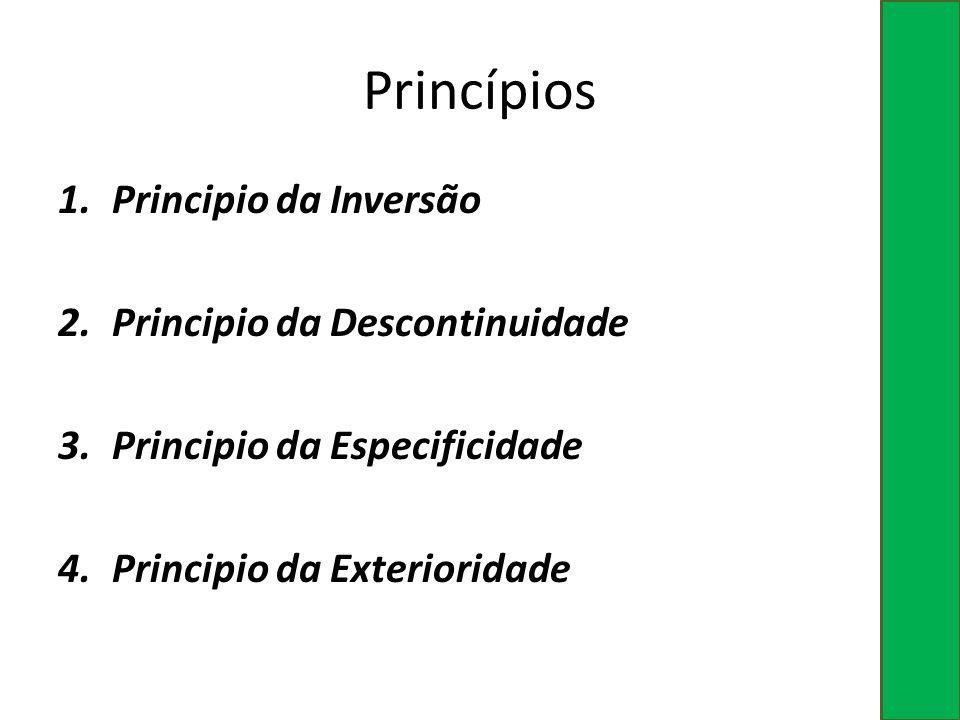 Princípios 1.Principio da Inversão 2.Principio da Descontinuidade 3.Principio da Especificidade 4.Principio da Exterioridade