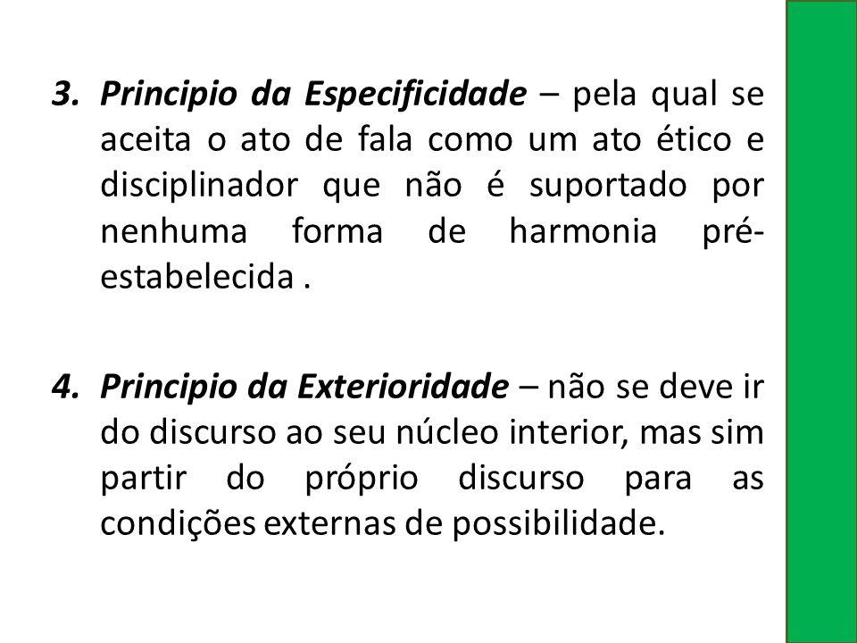 3.Principio da Especificidade – pela qual se aceita o ato de fala como um ato ético e disciplinador que não é suportado por nenhuma forma de harmonia