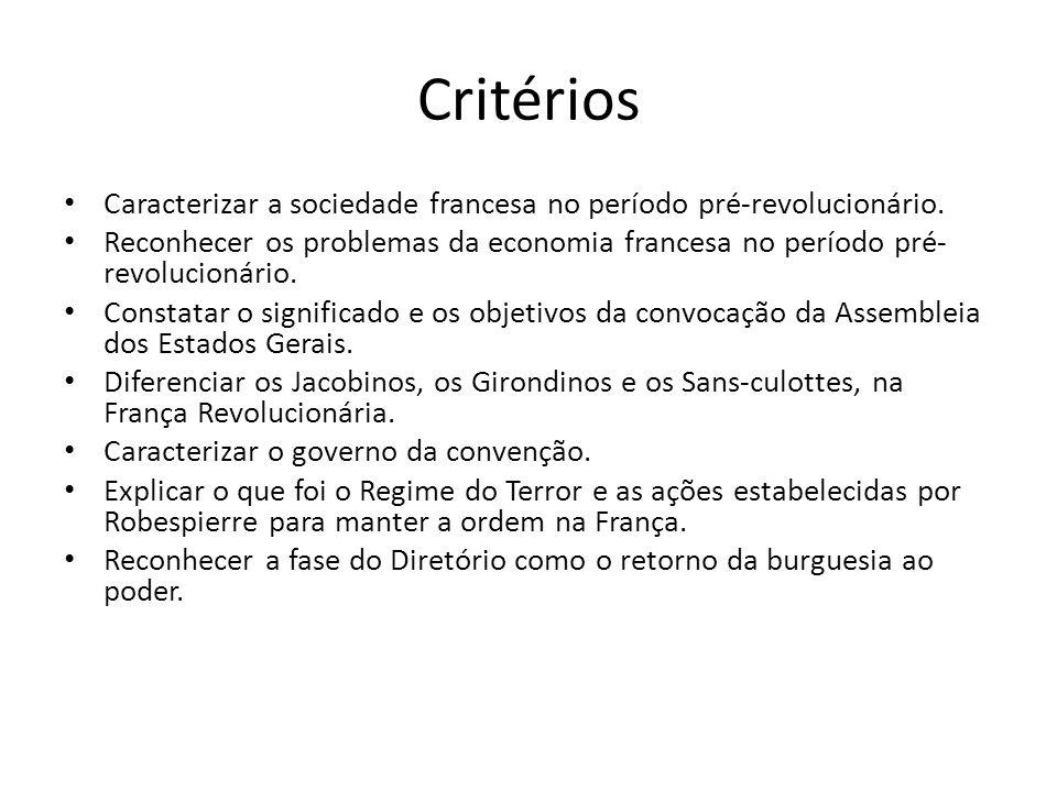 Critérios Caracterizar a sociedade francesa no período pré-revolucionário. Reconhecer os problemas da economia francesa no período pré- revolucionário