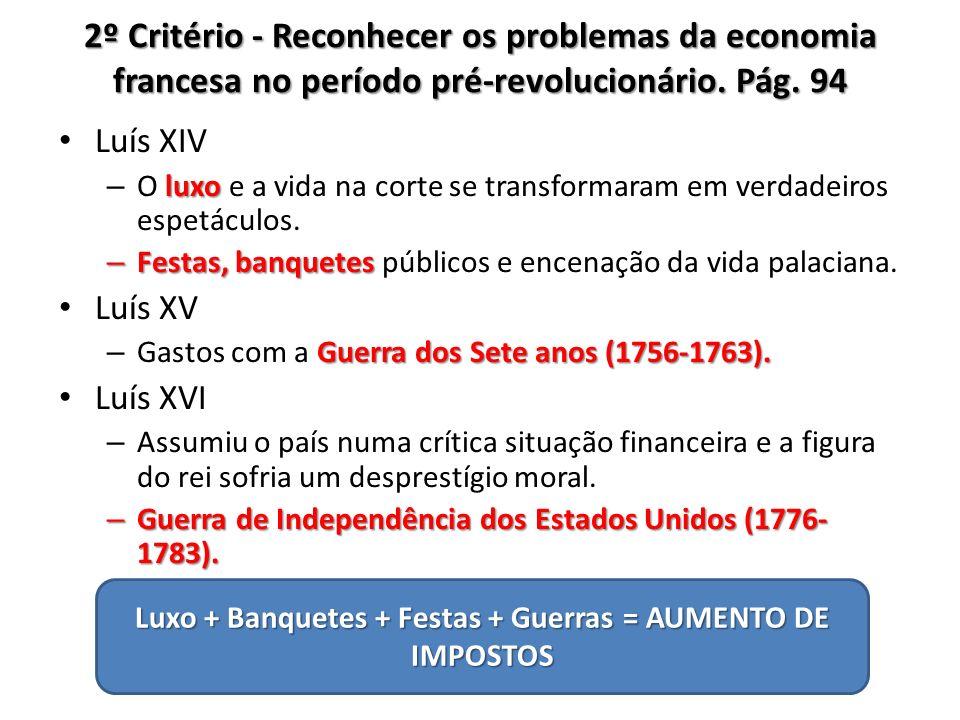 2º Critério - Reconhecer os problemas da economia francesa no período pré-revolucionário. Pág. 94 Luís XIV luxo – O luxo e a vida na corte se transfor