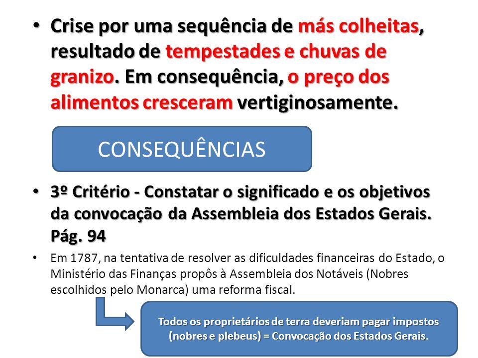 3º Critério - Constatar o significado e os objetivos da convocação da Assembleia dos Estados Gerais.