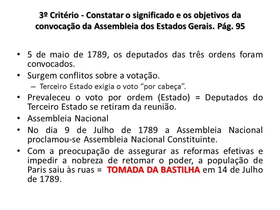 3º Critério - Constatar o significado e os objetivos da convocação da Assembleia dos Estados Gerais. Pág. 95 5 de maio de 1789, os deputados das três
