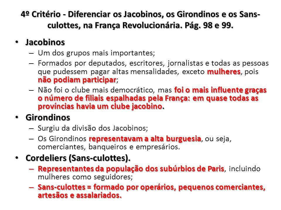 4º Critério - Diferenciar os Jacobinos, os Girondinos e os Sans- culottes, na França Revolucionária. Pág. 98 e 99. Jacobinos Jacobinos – Um dos grupos