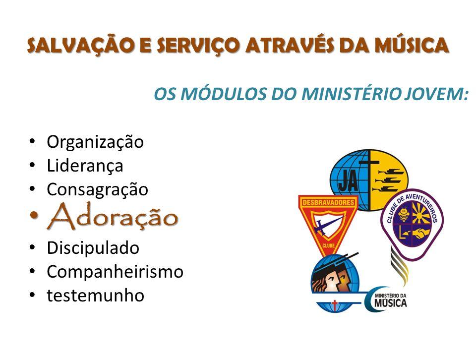 SALVAÇÃO E SERVIÇO ATRAVÉS DA MÚSICA OS MÓDULOS DO MINISTÉRIO JOVEM: Organização Liderança Consagração Adoração Adoração Discipulado Companheirismo testemunho