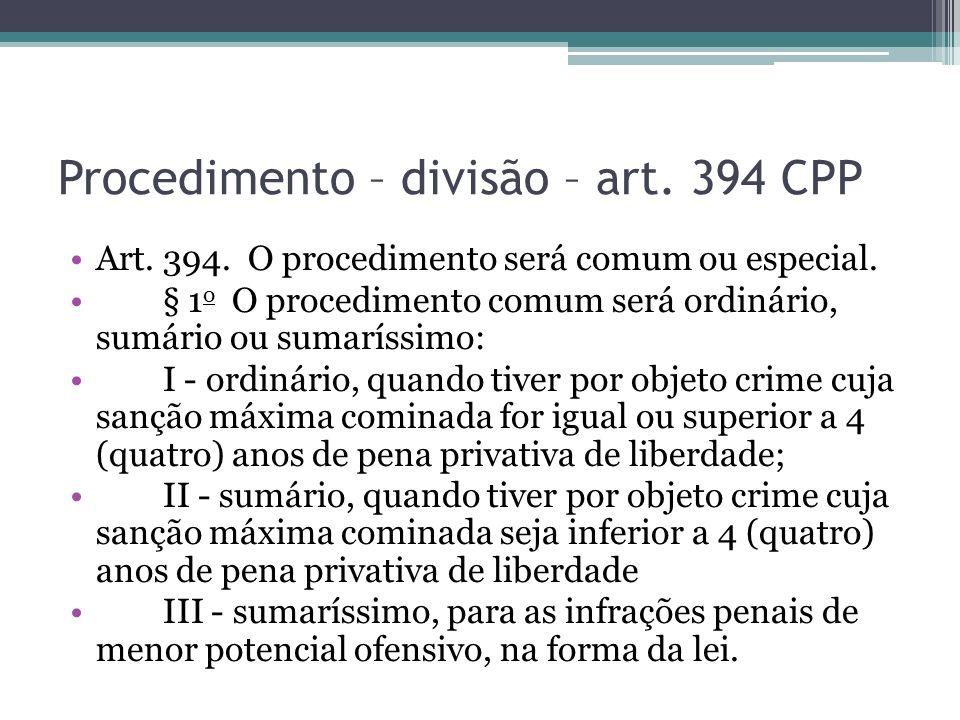 Procedimento – divisão – art. 394 CPP Art. 394. O procedimento será comum ou especial. § 1 o O procedimento comum será ordinário, sumário ou sumaríssi
