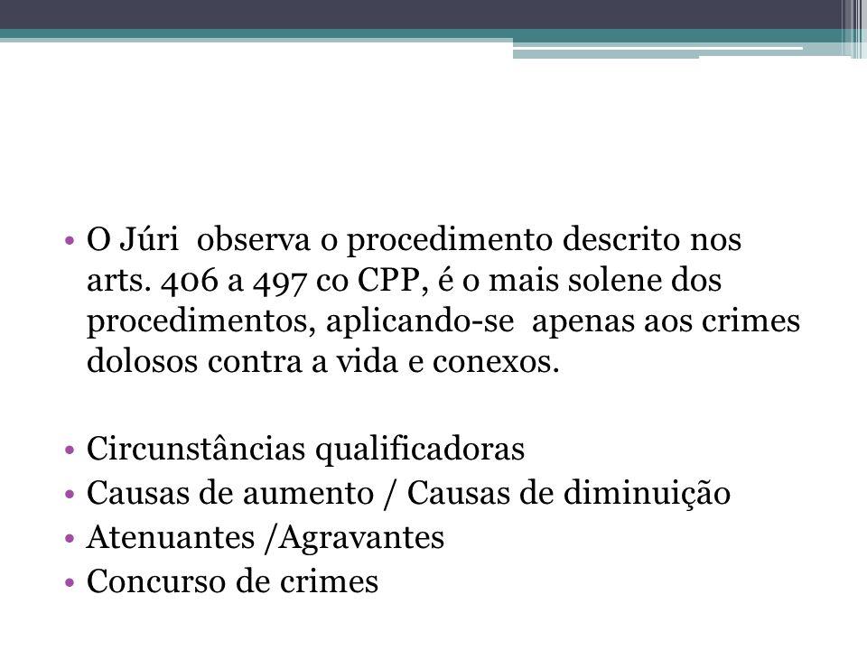 O Júri observa o procedimento descrito nos arts. 406 a 497 co CPP, é o mais solene dos procedimentos, aplicando-se apenas aos crimes dolosos contra a