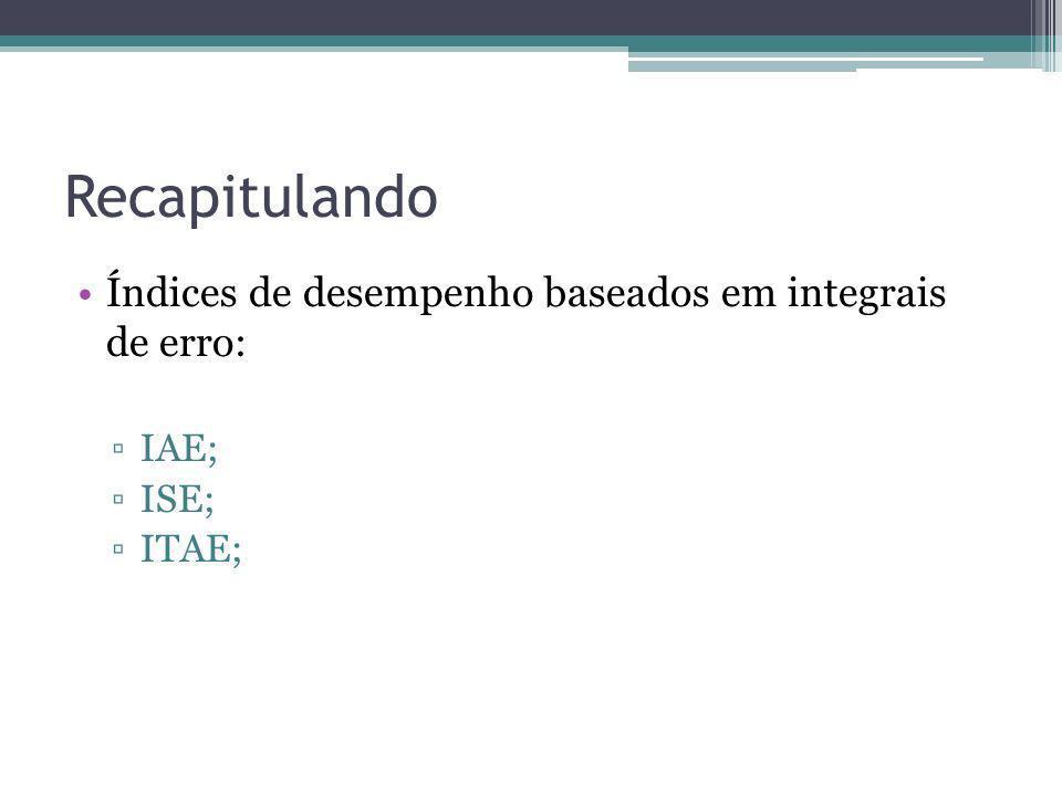 Recapitulando Índices de desempenho baseados em integrais de erro: IAE; ISE; ITAE;