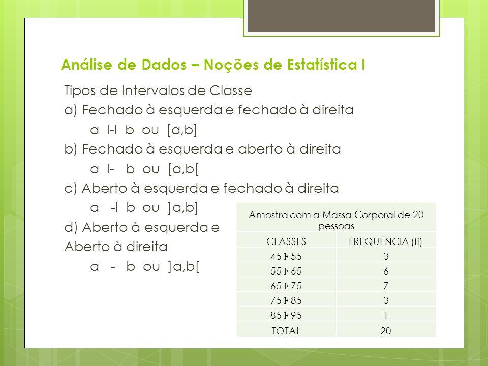 Análise de Dados – Noções de Estatística I Tipos de Intervalos de Classe a) Fechado à esquerda e fechado à direita a I-I b ou [a,b] b) Fechado à esque