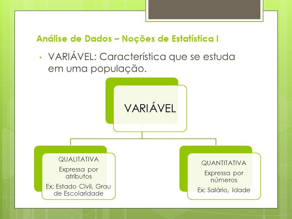 Análise de Dados – Noções de Estatística I VARIÁVEL: Característica que se estuda em uma população. VARIÁVEL QUALITATIVA Expressa por atributos Ex: Es
