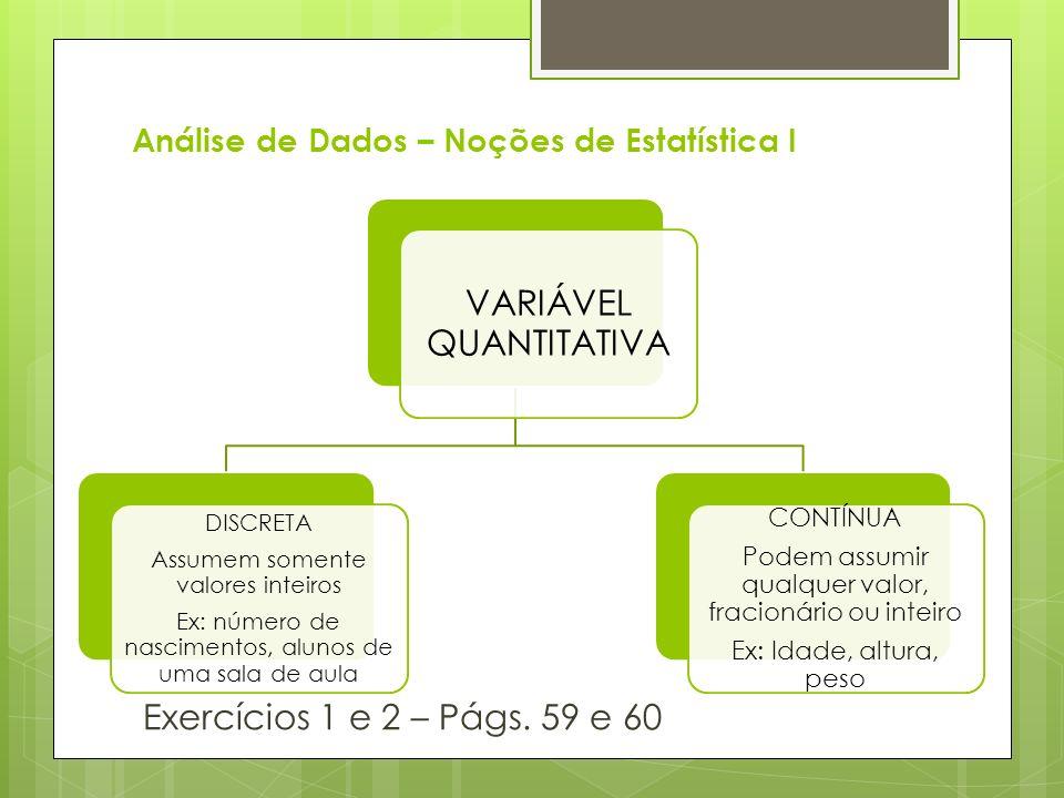 Análise de Dados – Noções de Estatística I Exercícios 1 e 2 – Págs. 59 e 60 VARIÁVEL QUANTITATIVA DISCRETA Assumem somente valores inteiros Ex: número