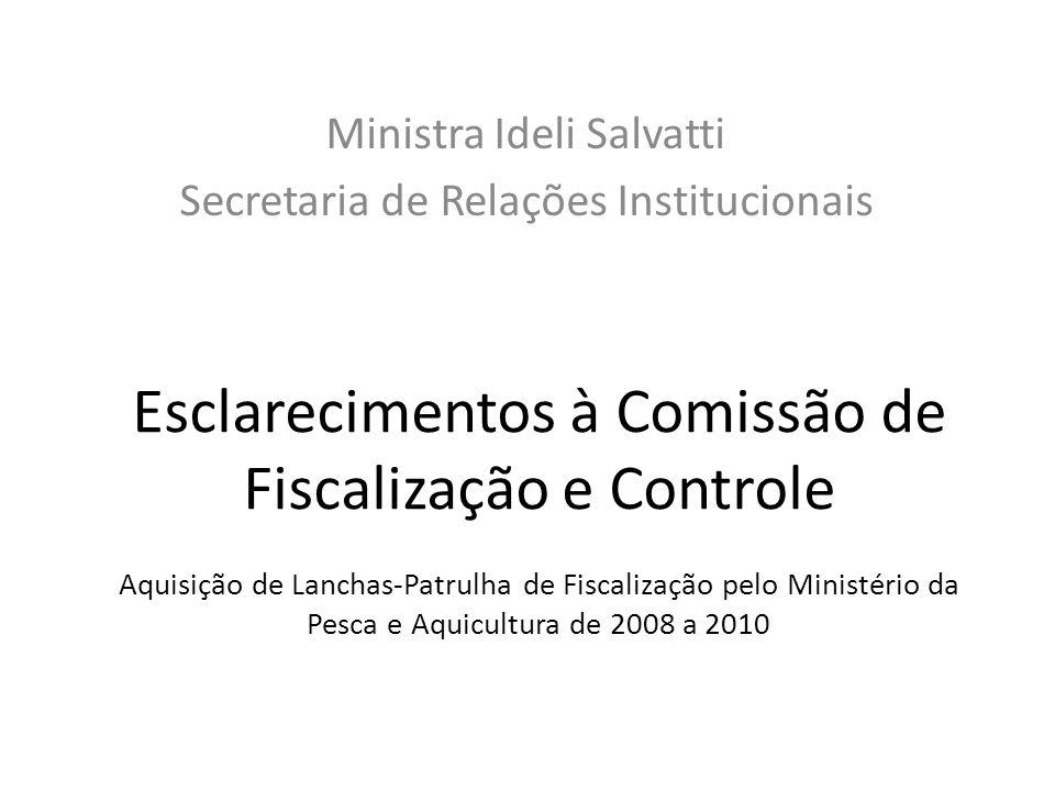 Esclarecimentos à Comissão de Fiscalização e Controle Aquisição de Lanchas-Patrulha de Fiscalização pelo Ministério da Pesca e Aquicultura de 2008 a 2010 Ministra Ideli Salvatti Secretaria de Relações Institucionais