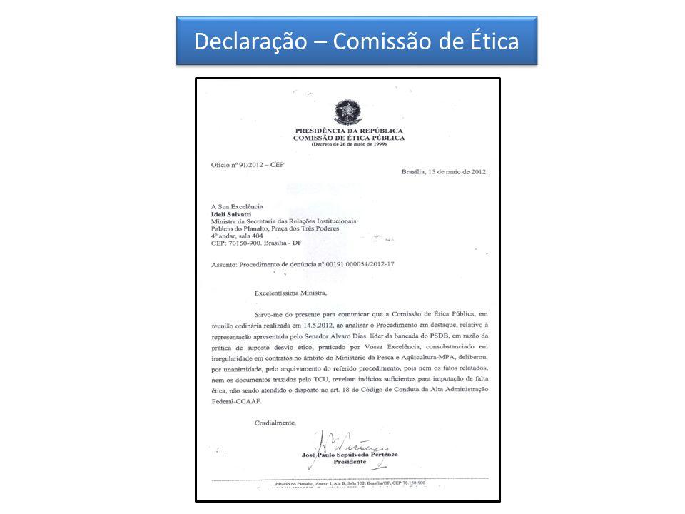 Declaração – Comissão de Ética