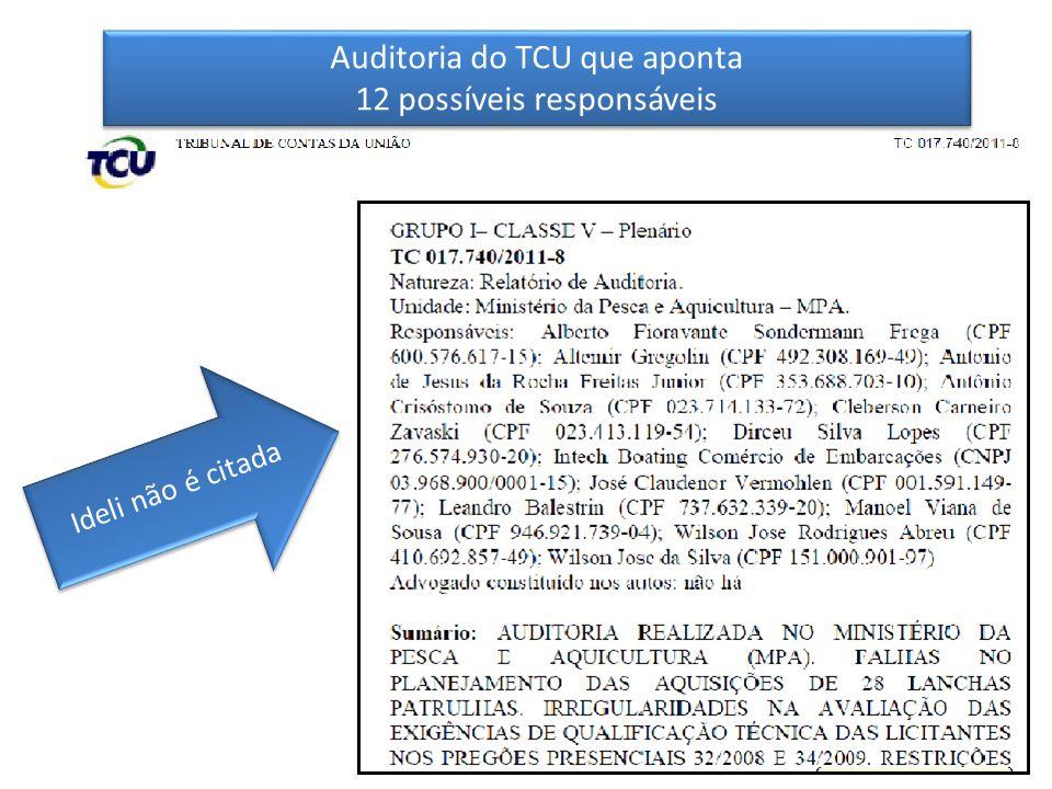 Ideli não é citada Auditoria do TCU que aponta 12 possíveis responsáveis Auditoria do TCU que aponta 12 possíveis responsáveis