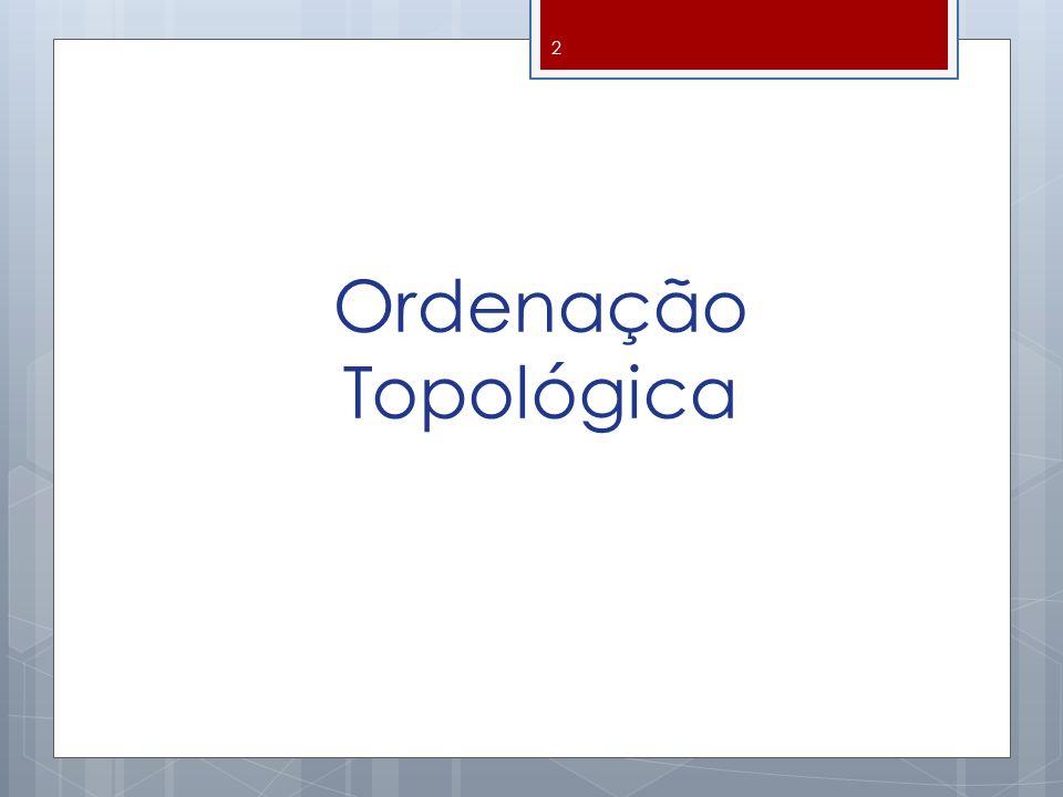 Ordenação Topológica Um grafo orientado é acíclico se, e somente se, não são encontradas arestas de retorno durante uma busca em profundidade 13 0 1 2 3 4 5 6 7