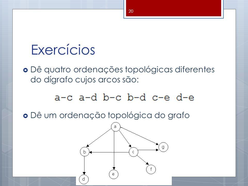 Exercícios Dê quatro ordenações topológicas diferentes do dígrafo cujos arcos são: Dê um ordenação topológica do grafo 20