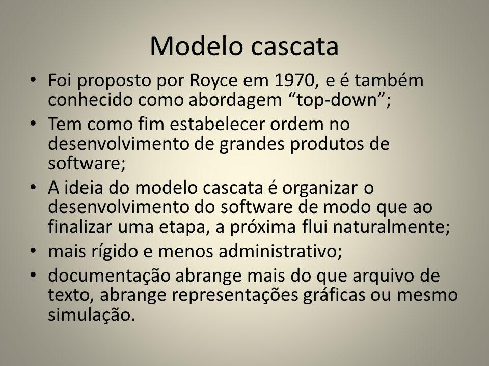 Modelo cascata Foi proposto por Royce em 1970, e é também conhecido como abordagem top-down; Tem como fim estabelecer ordem no desenvolvimento de gran