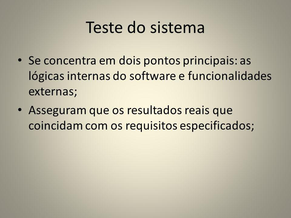 Teste do sistema Se concentra em dois pontos principais: as lógicas internas do software e funcionalidades externas; Asseguram que os resultados reais