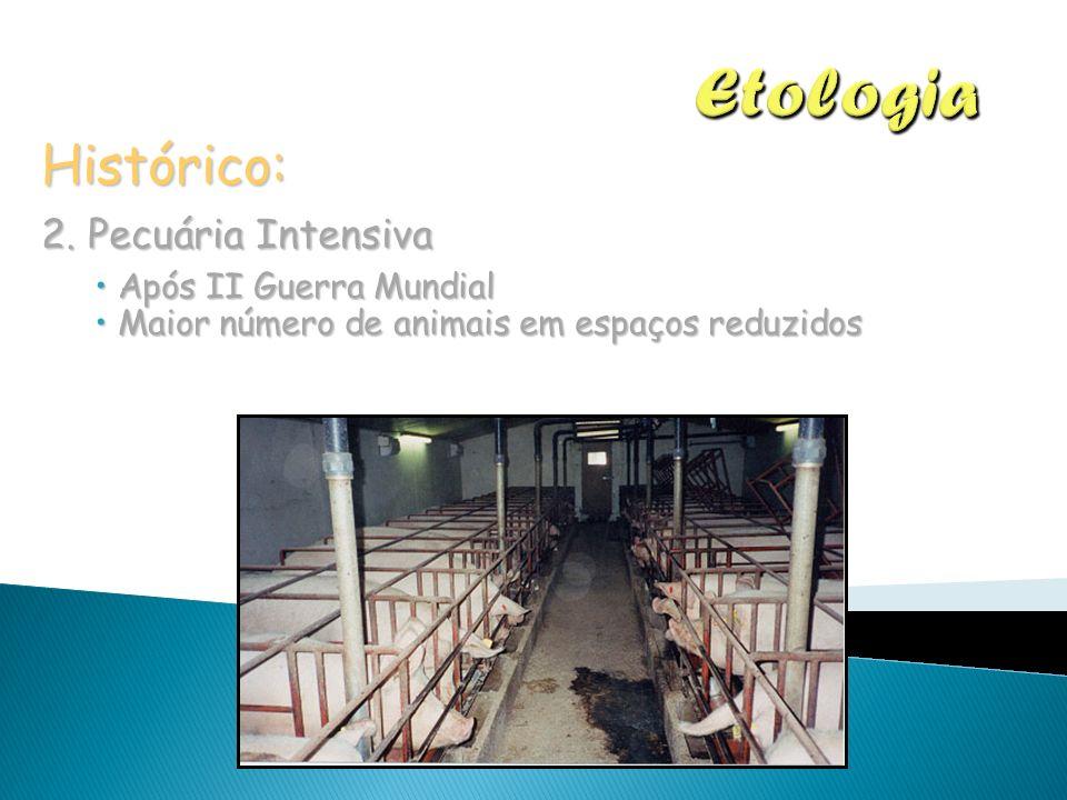 Histórico: 2. Pecuária Intensiva Após II Guerra Mundial Após II Guerra Mundial Maior número de animais em espaços reduzidos Maior número de animais em
