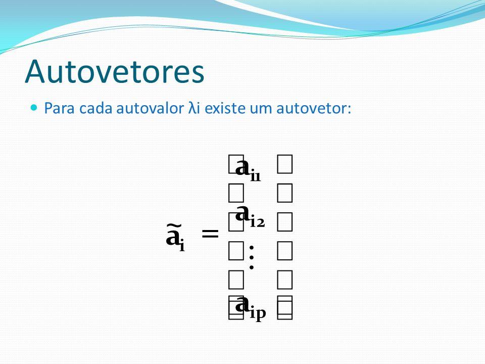 Autovetores Para cada autovalor λi existe um autovetor: ip 2i 1i i a a a a ~