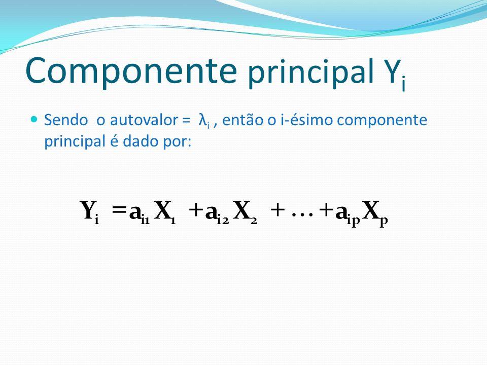 Propriedades dos Componentes Principais A variância do componente principal Y i é igual ao valor do autovalor λ i : O primeiro componente é o que apresenta maior variância e assim por diante: ii YarV ˆ )Y(arV ˆ )Y( V ˆ )Y( V ˆ p21