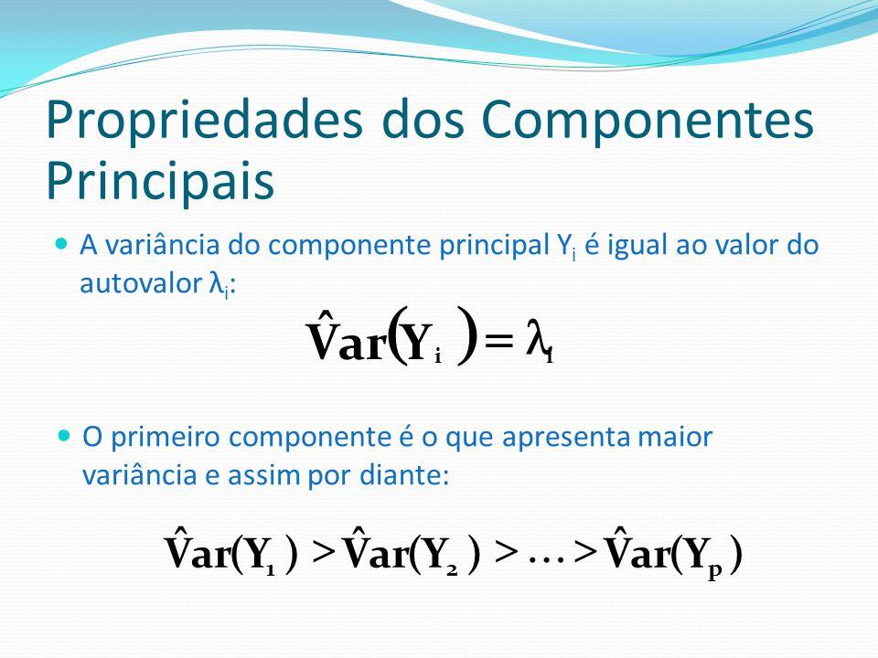 Propriedades dos Componentes Principais Total de variância das variáveis originais = somatório dos autovalores = total de variância dos componentes principais: )Y(arV ˆ )X( V ˆ iii Os componentes principais não são correlacionados entre si: 0Y,YovC ˆ ji