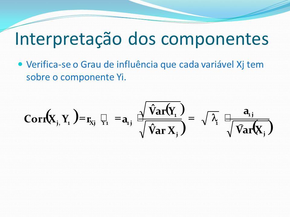 Interpretação dos componentes Verifica-se o Grau de influência que cada variável Xj tem sobre o componente Yi. j j1 1 j 1 j11YXj1,j XarV a X V ˆ Y V ˆ