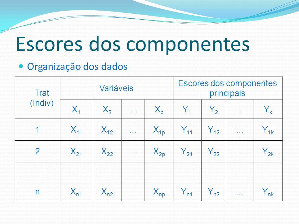 Escores dos componentes Organização dos dados Trat (Indiv) Variáveis Escores dos componentes principais X1X1 X2X2...XpXp Y1Y1 Y2Y2 YkYk 1X 11 X 12...X