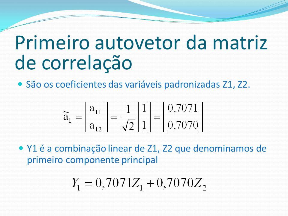 Primeiro autovetor da matriz de correlação São os coeficientes das variáveis padronizadas Z1, Z2. Y1 é a combinação linear de Z1, Z2 que denominamos d