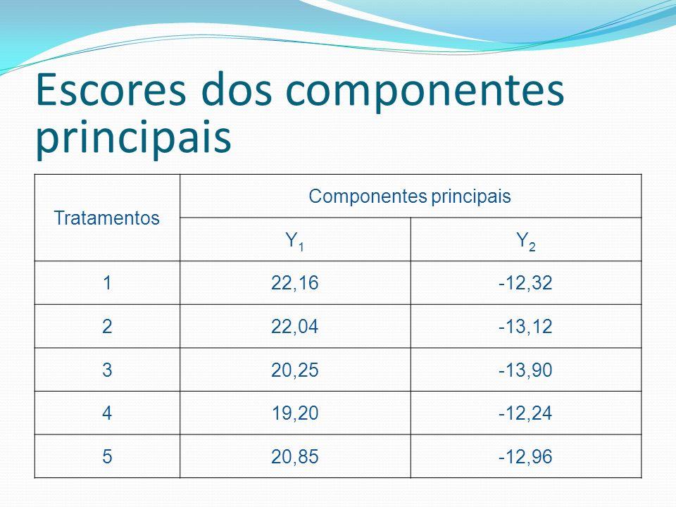 Escores dos componentes principais Tratamentos Componentes principais Y1Y1 Y2Y2 122,16-12,32 222,04-13,12 320,25-13,90 419,20-12,24 520,85-12,96