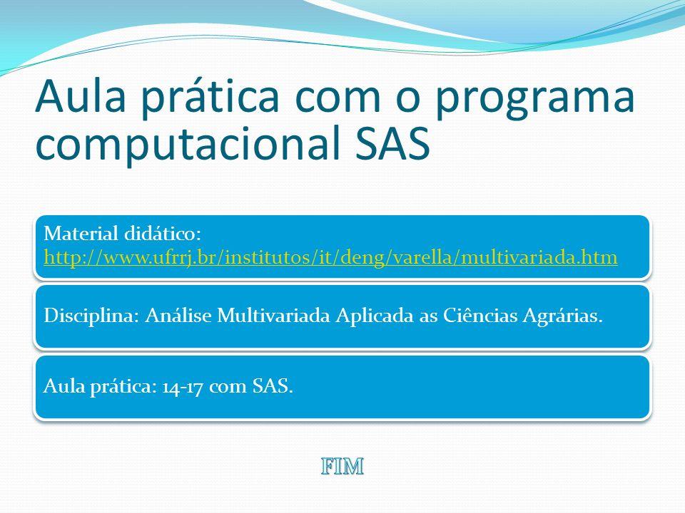 Aula prática com o programa computacional SAS Material didático: http://www.ufrrj.br/institutos/it/deng/varella/multivariada.htm http://www.ufrrj.br/i
