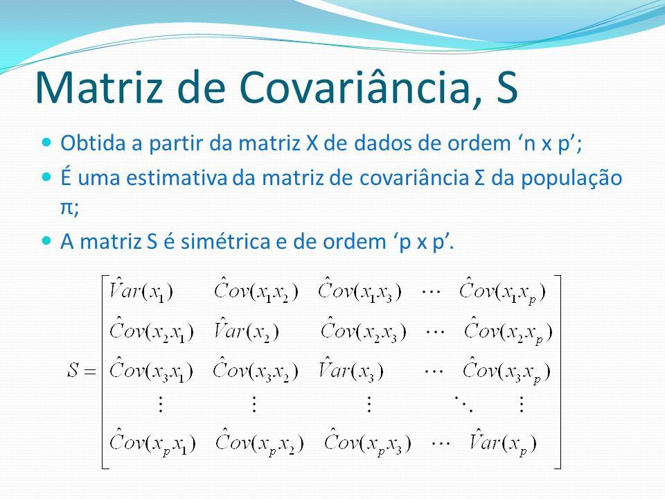 Matriz de Covariância, S Obtida a partir da matriz X de dados de ordem n x p; É uma estimativa da matriz de covariância Σ da população π; A matriz S é